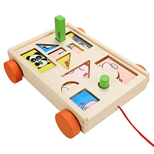 Smibie Kinderspiele Bauwagen mit bunten Bausteinen Puzzle Lernspielzeug aus Holz für Baby Kleinkinder