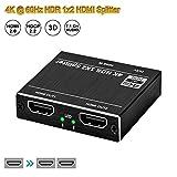 Splitter HDMI 4K @ 60Hz, Splitter Switch 1x2 HDMI 2.0b 3.5mm Porta 2 vie HDCP 2.2 UHD RGB