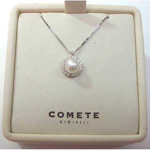 Comete Gioielli - Collana girocollo Comete in oro bianco 18 kt carati con perla e diamanti