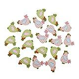 Gazechimp Mini Wäscheklammern bunte Holz Klammern Foto Papier Pin für Namensschilder zum Basteln - 20 Stück Huhn