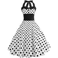 Hotsell〔☀ㄥ☀〕Women's Dresses, Halter 50s Rockabilly Waist Polka Dots Audrey Dress Retro Cocktail Dress Swing Party Dress
