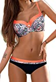 CROSS1946 Damen Elegant Bademode Push up Zweiteiler Swimsuits Badeanzug Bikini-Set Rose-Blumen Small