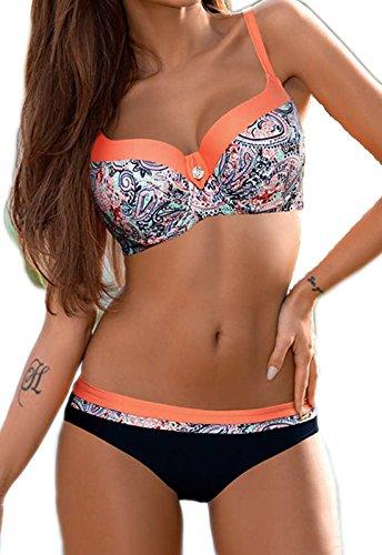 CROSS1946 Damen Elegant Bademode Push up Zweiteiler Swimsuits Badeanzug Bikini-Set Rose-Blumen X-Large