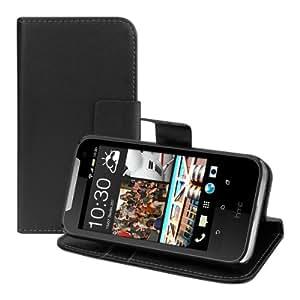 kwmobile Hülle für HTC Desire 310 - Wallet Case Handy Schutzhülle Kunstleder - Handycover Klapphülle mit Kartenfach und Ständer Schwarz