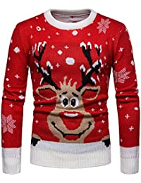 Sweats Homme Noël, GongzhuMM Pull Noel Hommes Pullover Sweatshirt Sweater Tee-Shirt Sweat À Capuche Men Plus Size Christmas
