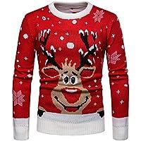 Cebbay Hombre Vintage Reno De Navidad Suéter Cuello Redondo suéter pulóver Liquidación Camisa Hombre de Manga Larga Personalidad Slim Fit Casual
