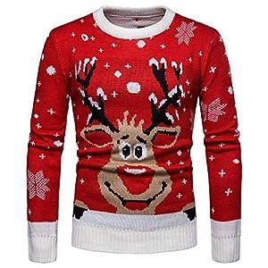 VRTUR Herren Winter Warm Pullover Weihnachten Drucken Gestrickt Sweatshirt Bluse Oberteile Top Bluse Strickpullover
