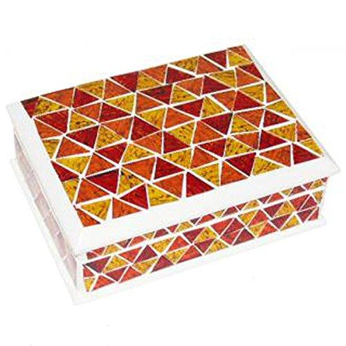 Jewellery box mosaic w/mirror red/orange/yell