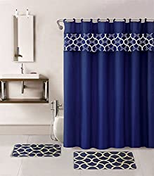 Gorgeous Home Linen *Different Colors & Designs* 1 Shower Curtain and a Set of 2 Bath Mats Rugs Bath Boutique 100% Polyester (Navy Blue Geometric) by Gorgeous Home LINEN