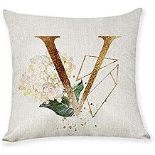 Xmansky Funda de almohada Sen alfabeto inglés flor abrazo Algodón de Lino Throw Pillow Case Funda