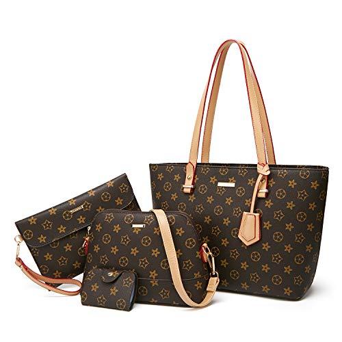 ELIMPAUL Damen Handtaschen Shopper Groß Schultertasche Geldbörse Kartenhalter Tasche 4-teiliges Set Geschenk