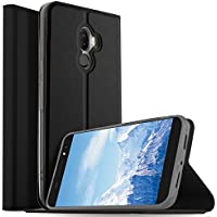 Funda Ulefone S8 Pro, KuGi Slim Flip Cover Carcasa Cubierta de cuero PU Multi-Angle Shockproof Silicio Protectora de Carcasa con Soporte Plegable para Ulefone S8 Pro Smartphone (Slim Book Series - Negro)