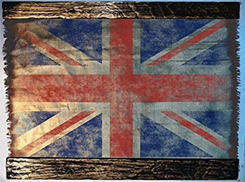 UK Flag wall art made of worn out burlap and wood | Rustic decor | Flag of the United Kingdom wall decor | Handmade flag, Personalised