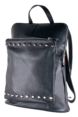 BORDERLINE - 100% Made in Italy - Borsa Zaino in Vera Pelle - BEATRICE (Nero Borchiato)