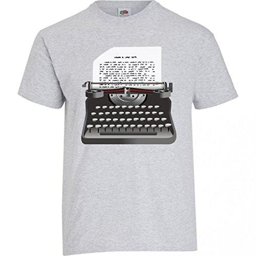 """T-Shirt """"SCHREIBMASCHINE- JAHRGANG- EINGABE- RETRO- SCHRIFTSTELLER- SCHREIBEN- ALTE- ANTIK- MASCHINE- PAPIER- TYP- SEITE- TEXT- TASTEN"""" in Grau für Herren- Damen- Kinder- 104- 5XL"""