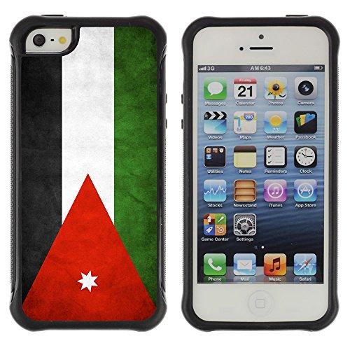 Graphic4You Vintage Uralt Flagge Von Iran Iraner Design Shockproof Anti-Rutsch Weichen Hülle Case Tasche Schutzhülle für Apple iPhone SE / 5 / 5S Drapeau Jordanien Jordanie