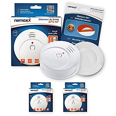 2x Nemaxx SP5 NF Fire alarm - high-quality battery-operated smoke detectors - 9V alkaline battery - white + NX1 adhesive fixing