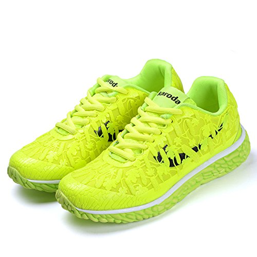 Azbro Women's Casual Lace-UP Front Fluorescent Sneakers Green