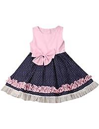 381ced550 Luckycat Niñas Niños Largo Vestido Gala Encaje Vestidos De Ceremonia Fiesta  Elegantes Nena Boda Damas Honor Coctel Navidad Vacaciones…