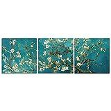 CrmOArt - Mandelblüte Moderne gerahmte Blumen Giclée Leinwanddrucke Von Van Gogh Berühmte Ölgemälde Reproduktion Blumen Bilder auf Leinwand Wandkunst Bereit zum Aufhängen für Schlafzimmer Hauptdekorationen