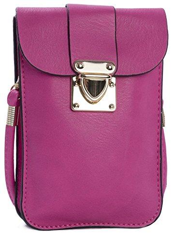 Big Handbag Shop Damen Sling Cross Body Messenger-Tasche, Geldbörse Hot Pink