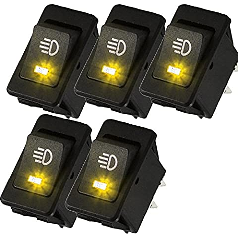 Mintice™ 5 X 12V 30A moto veicolo auto giallo fendinebbia LED del pulsante luce interruttore a levetta On Off SPST 4Pin - 12 X 12 Auto