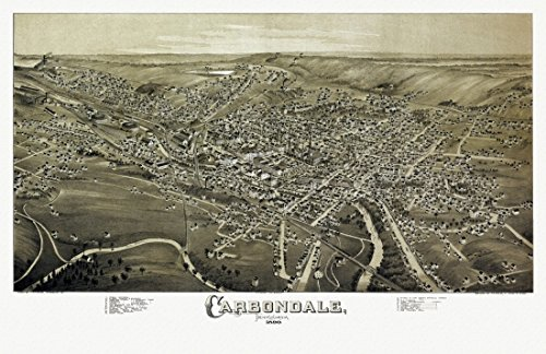 Vintage Map of Carbondale Pennsylvania 1890 Lackawanna County Kunstdruck (60,96 x 91,44 cm) (Pennsylvania Lackawanna County,)