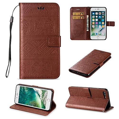 Custodia iPhone 8 Plus[Protezione Libera dello Schermo], ESSTORE-EU Premium Portafoglio Protettiva Cover Custodia, Retrò Elefante Flip Wallet Case Custodia in Pelle per Apple iPhone 8 Plus (2017) Con  Marrone