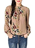 Abollria Women's Chiffon Floral Print Long Sleeve Stand Collar Casual Shirt Blouse Tops Pink
