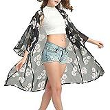 ❤️ Amlaiworld Cárdigan de Chal de Gasa de Mujer de Manga Larga Chaqueta Kimono de Mujer Cárdigans Mujer Primavera Verano Chales Wraps Outerwear Jersey (Negro, XL)