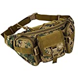 Aeoss Outdoor Unisex Waist Bag with Water Bottle Pocket Holder Molle Fanny Hip Belt Bag (Green)