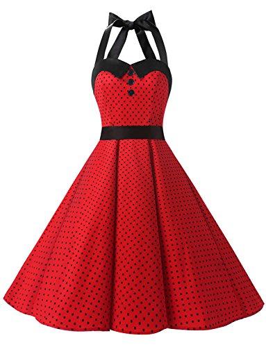 Dressystar DS1957 Robe de Bal Polka Vintage pin-up à 'Audrey Hepburn' 50's 60's Rockabilly Halter,Dos Nu, à Pois, Dark Rouge M