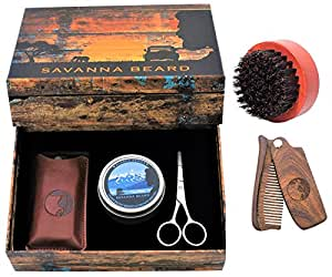savanna beard grooming beard kit 100 pure boar bristle brush folding sandalwood beard comb. Black Bedroom Furniture Sets. Home Design Ideas