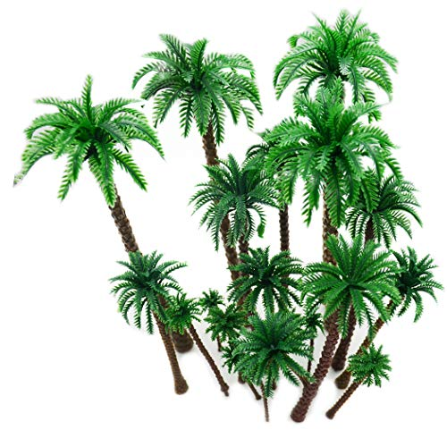 Hatisan-Pro Coconut Palm Model Trees/Scenery Model - Plastic Artificial Layout Rainforest Diorama, Building Model Trees Cake Topper, Model Train Railways Architecture Landscape (20 Pcs D)