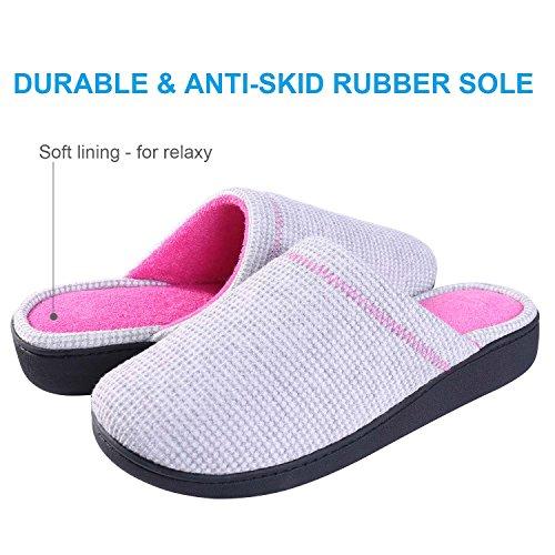 JUDY House Damen Hausschuhe Winter Warm für Frauen-Indoor atmungsaktiv Baumwolle Slipper-Comfort Anti-Slip Closed Toe stricken Schuhe Grau