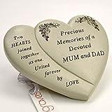 MUM & Dad commemorativa doppio cuore fiore ornamento Verse Plaque