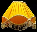 "RDC 12"" Round Pleated Yellow with Golden Lace Border with Frills Lamp Shade for Table Lamp or Floor Lamp"