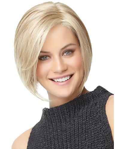 Perücken europäisches Haar nautral kurze blonde Perücke Bobo für weiße Frauen ohne (Für Männer Kurze Perücken Afro)