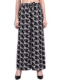 RMG Fashion Relaxed Women's Regular Fit Palazzo (Black and White, Free Size)