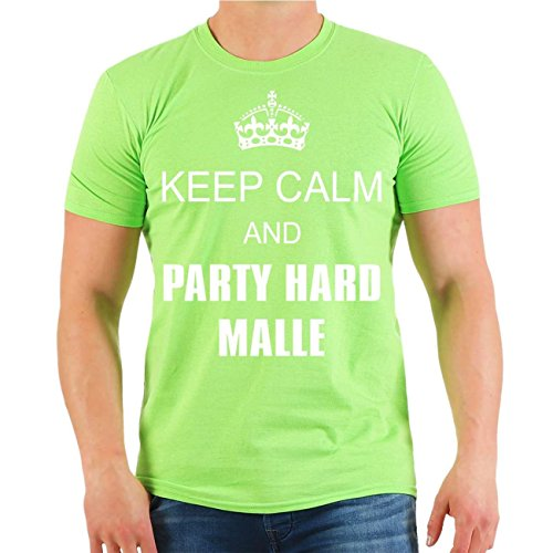 Männer und Herren T-Shirt Keep Calm and PARTY HARD MALLE Größe S - 8XL Limettengrün