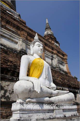 Forex-Platte 80 x 120 cm: Thailand, Ayutthaya. Wat Phra Chao Phya-Thai (aka Wat Yai Chai-mongkol). Historic Monastery Built in von Cindy Miller Hopkins/Danita Delimont