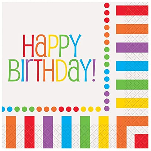 Rainbow Party Happy Birthday Paper Napkins, Pack of 16