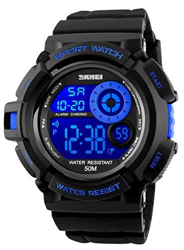 Relojes Deportivos Digitales para Hombre, Reloj cronógrafo Militar a Prueba de Agua a 50 Metros, con Alarma (Azul)
