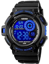 Para hombre Digital Relojes deportivos–al aire libre 50m impermeable militar reloj cronógrafo, deporte running reloj de pulsera con alarma para los hombres