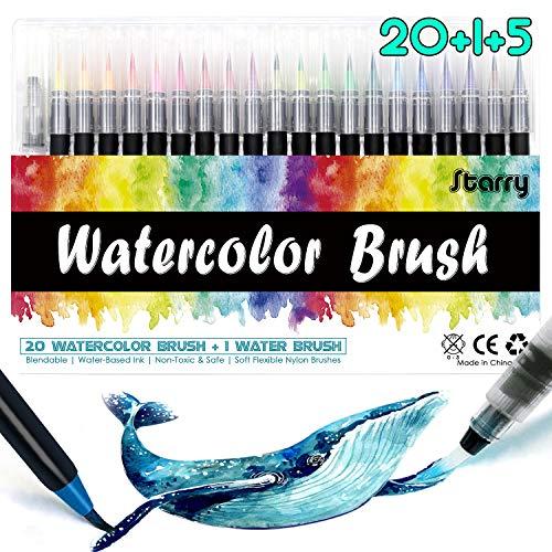 STARRY Brush Pen Set - [20+1Pinselstiften Aquarellpinsel+5Schablonen] Handlettering Stifte Set, Kalligraphie Set, Aquarellpinsel, Lettering Stifte Set, Manga Zeichnen Stifte für Bullet Journal Zubehör