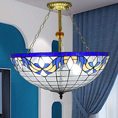 ACTW 22-Zoll-Pendelleuchte Tiffany-Stil Kronleuchter europäischen minimalistischen kreativen blauen mediterranen Deckenleuchte Wohnzimmer Restaurant Cafe Hängelampen/Deckenleuchte -
