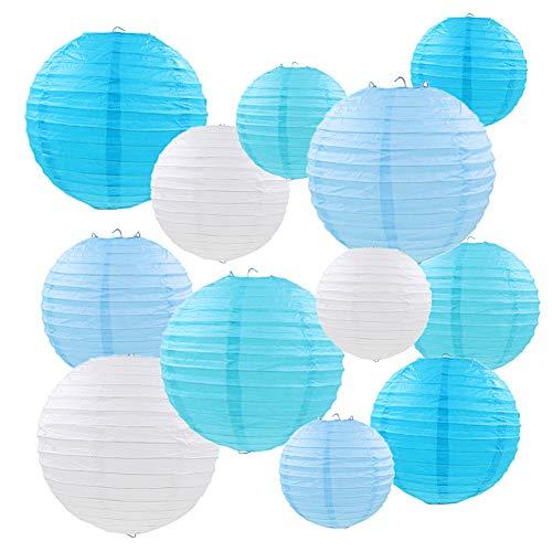 """Linternas de papel, 12 PCS China azul linterna redonda, globo, decoraciones colgantes, con distintos tamaños para la boda, cumpleaños, fiesta de bienvenida al bebé, decoración para el hogar, 6""""8"""" 10"""""""