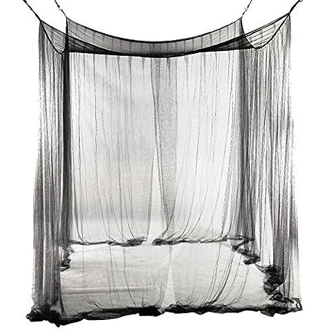 SODIAL(R) 4-Ecke Bett Canopy Mueckennetz fuer Queen/ King Size Bett