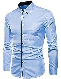 Longra Herren Hemd Slim Fit Hemd Für Business Hochzeit Freizeit - Langarm  Hemden für Männer Langarmhemd 3717eaa5df