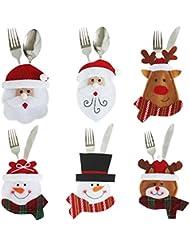 Petalum 6pcs Bags Knife and Fork Table Decoration Silver Flatware Holder Pockets Elk Santa Claus Snowman Meals Chair Covers Christmas Bearers (Multi, TU)